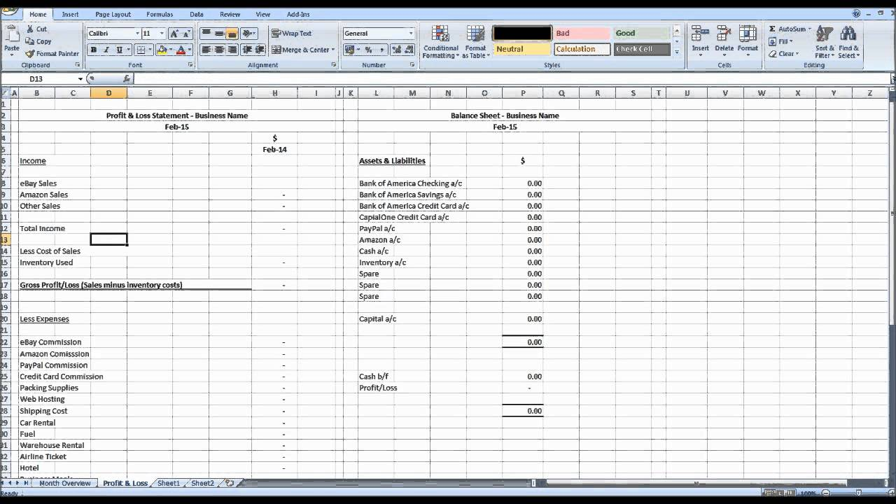 creating management accounts using excel  1 - intro