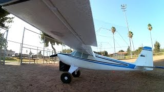 e flite timber repaint high wind demo backwards travel w commentary and on board views