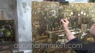 Видео урок живописи Интерьер старинного кафе
