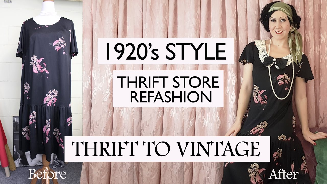b83b87587a3 How to Refashion Thrift Store Clothes to Vintage - 1920 s style costume -  Thrift to Vintage ep1