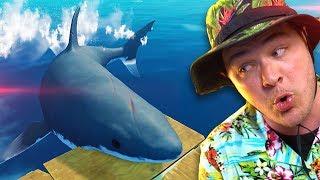 CRAZY SHARK ATTACKS POOR STRANDED MAN! | Raft