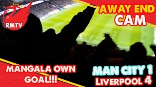 liverpool fan s react to mangala s own goal man city 1 4 liverpool   away end cam