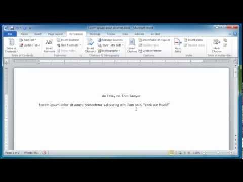 Microsoft Word 2010 Creating a References and Works Cited Page - YouTube