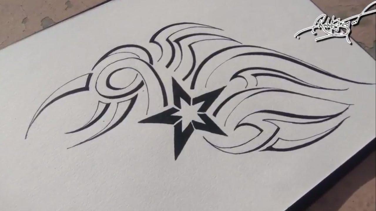 0aad61ebf Best tribal tattoo || how to draw simple tribal tattoo with black pen || RK  Artz