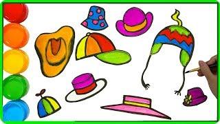 Zeichnen und färben Hut für Kinder   Künstlerische Farben für Kinder   Lernvideo für Kinder