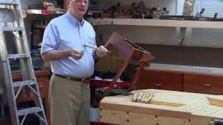 Foster Workbench - Using Emmert Pattern Makers Vise To Hold Odd Shaped Furniture.
