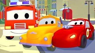Hasičské auto, Sanitka, Policejní auto a Odtahový vůz Tom| Animák z prostředí staveniště s auty a ná