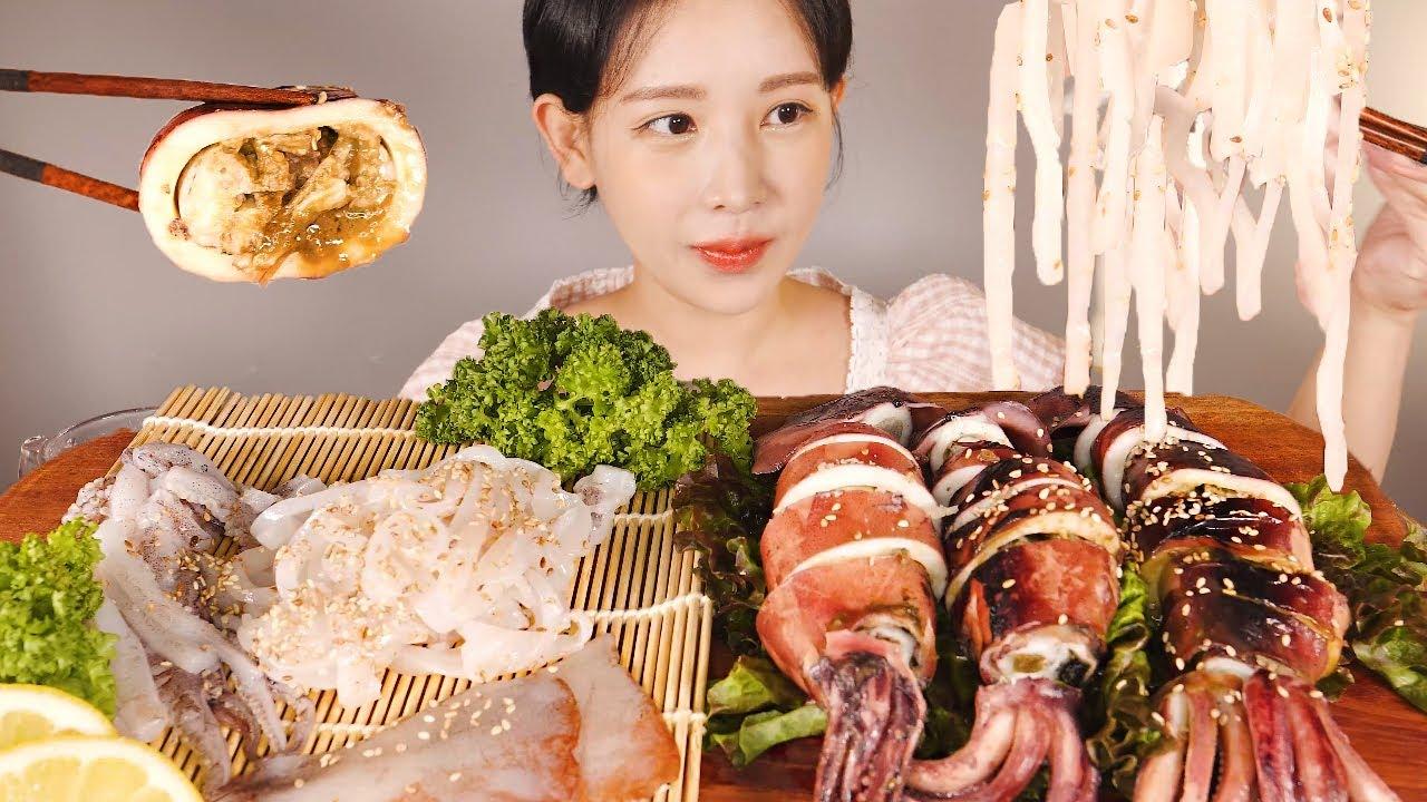 날반쪄반🦑 오징어회 & 오징어통찜 먹방 Raw Squid Sashimi & Steamed Squid [eating show]mukbang korean food