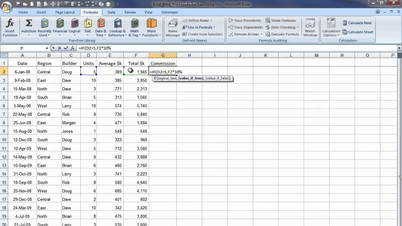 How to write Excel IF Function Statements