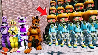 CAN THE ANIMATRONICS DEFEAT THE DISCO ZOMBIE ARMY? PvZ 2! (GTA 5 Mods Kids FNAF RedHatter)