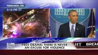 The Beast : Violence erupts in Ferguson Missouri the Moment Obama calls for Peace (Nov 24, 2014)