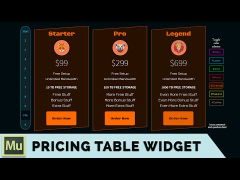 Adobe Muse Wicked Pricing Table Widget Tutorial and Free Download