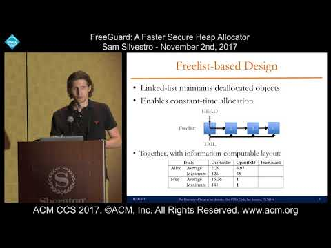 ACM CCS 2017 - FreeGuard: A Faster Secure Heap Allocator - Sam Silvestro