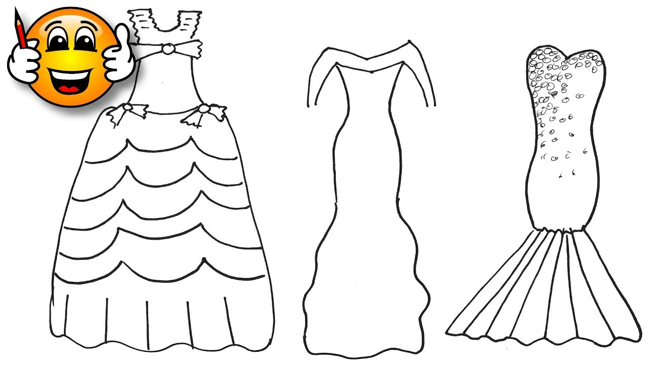 Coloring Pages For Kids Party Dress Dresses for Girls | Coloring for Kids |  Bibabibo