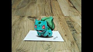 Drawing 3D Bulbasaur - How to draw 3d Bulbasaur from Pokemon - Art Maker Akshay