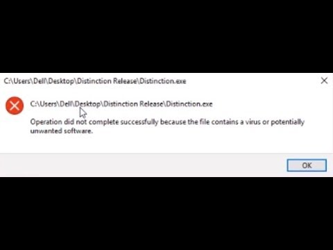 operation did not complete successfully because the file contains a virus avast