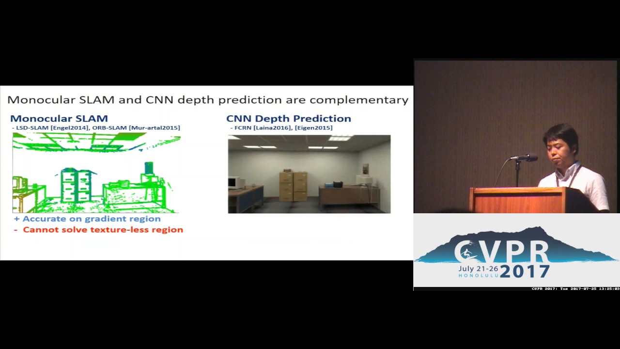 CNN-SLAM - Real-Time Dense Monocular SLAM With Learned Depth Prediction    Spotlight 4-2B