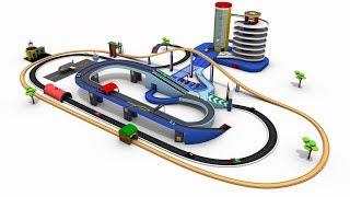 Aparcamiento de coches de dibujos animados de coches de dibujos animados de coches para los niños - los trenes para niños - fábrica de juguetes de dibujos animados