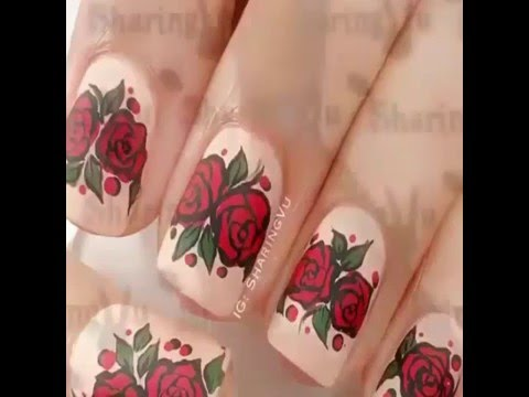 2016 simple and easy rose nail