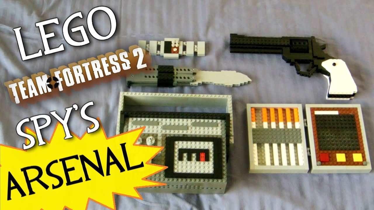 Team Fortress 2: LEGO Spy's FULL Arsenal! (LEGO Revolver, Butterfly Knife, Invis Watch, etc ...