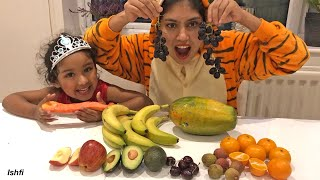 Ishfi Learn the name and Color of Real Fruits with Aunty