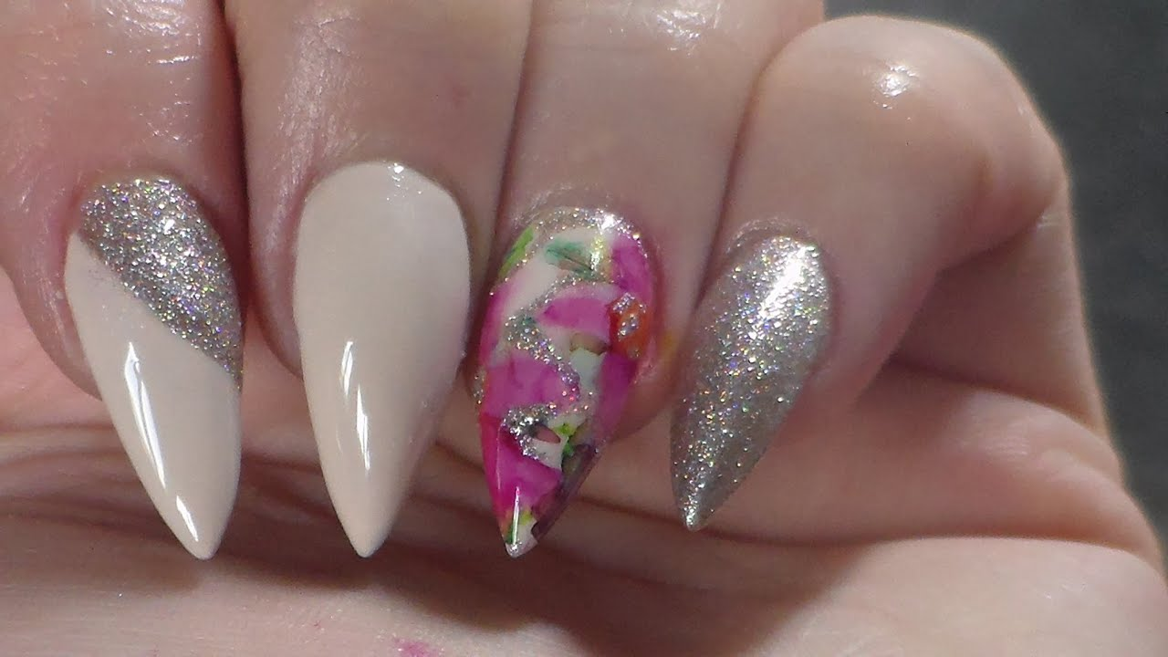 Acrylic Nails | Infill | New Design | Sharpie flower - YouTube