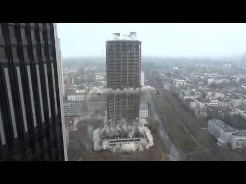 Sprengung 116 Meter Hochhaus (AfE-Turm) in Frankfurt am 02.02.2014 - Full HD, Zeitlupe & Opferkamera