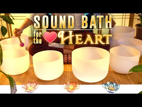 Calming Sound Bath For The Heart | Crystal Singing Bowls | Anxiety | Fear | Meditation | Sleep