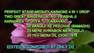 MEDLEY KARAOKE WITH LYRICS FOR FEMALE MUKHDA LATA VS ASHA JUMBO BEAT ONLY D2 4 IN 1 DROP 2018