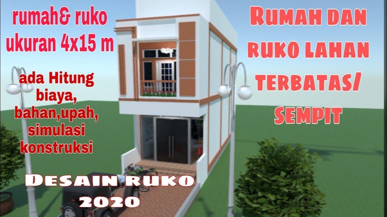 Hitung Biaya Bangun Rumah Dan Ruko Minimalis 4x15 Meter 2 Lantai Desain Rumah Dan Toko Youtube
