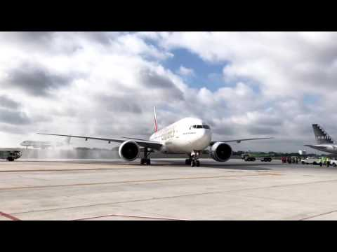 Emirates Water Cannon Salute at Fort Lauderdale International Airport
