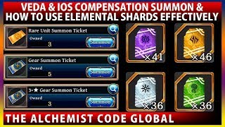How To Use Elemental Shards Effectively & iOS Compensation Summons (The Alchemist Code)