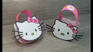 صنع حقيبة جميلة وبسيطة بالورق للبنات 💗 kitty paper bag