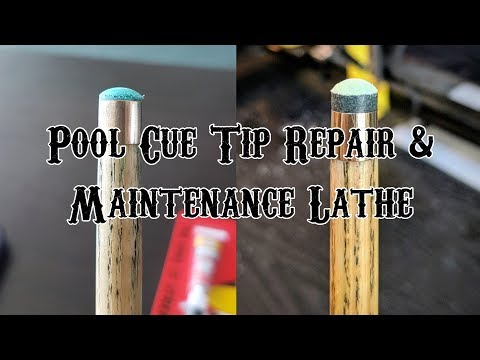 Tip replacement using a Pool Cue Tip Repair & Maintenance Lathe