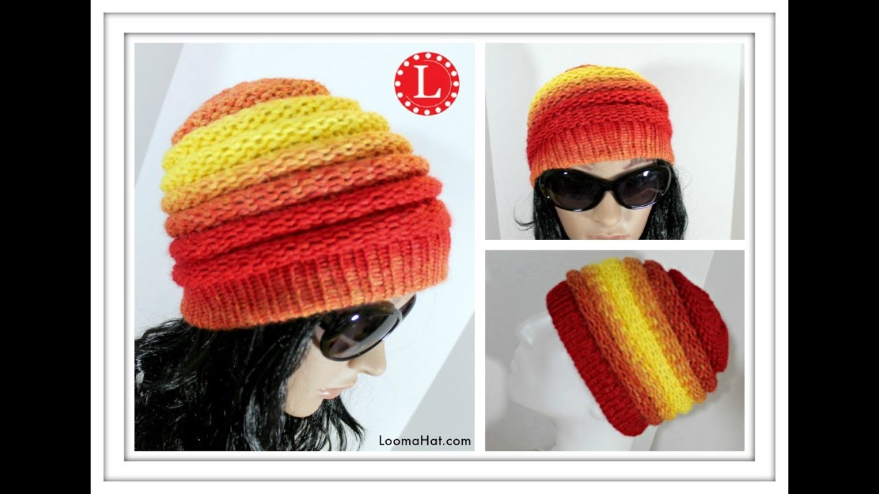 050f5a88c59 LOOM KNITTING HAT Ombre Beanie Pattern for Men and Women made on the Extra  Large loom
