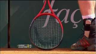 Andy Murray wins a point with a broken string 2012 HD