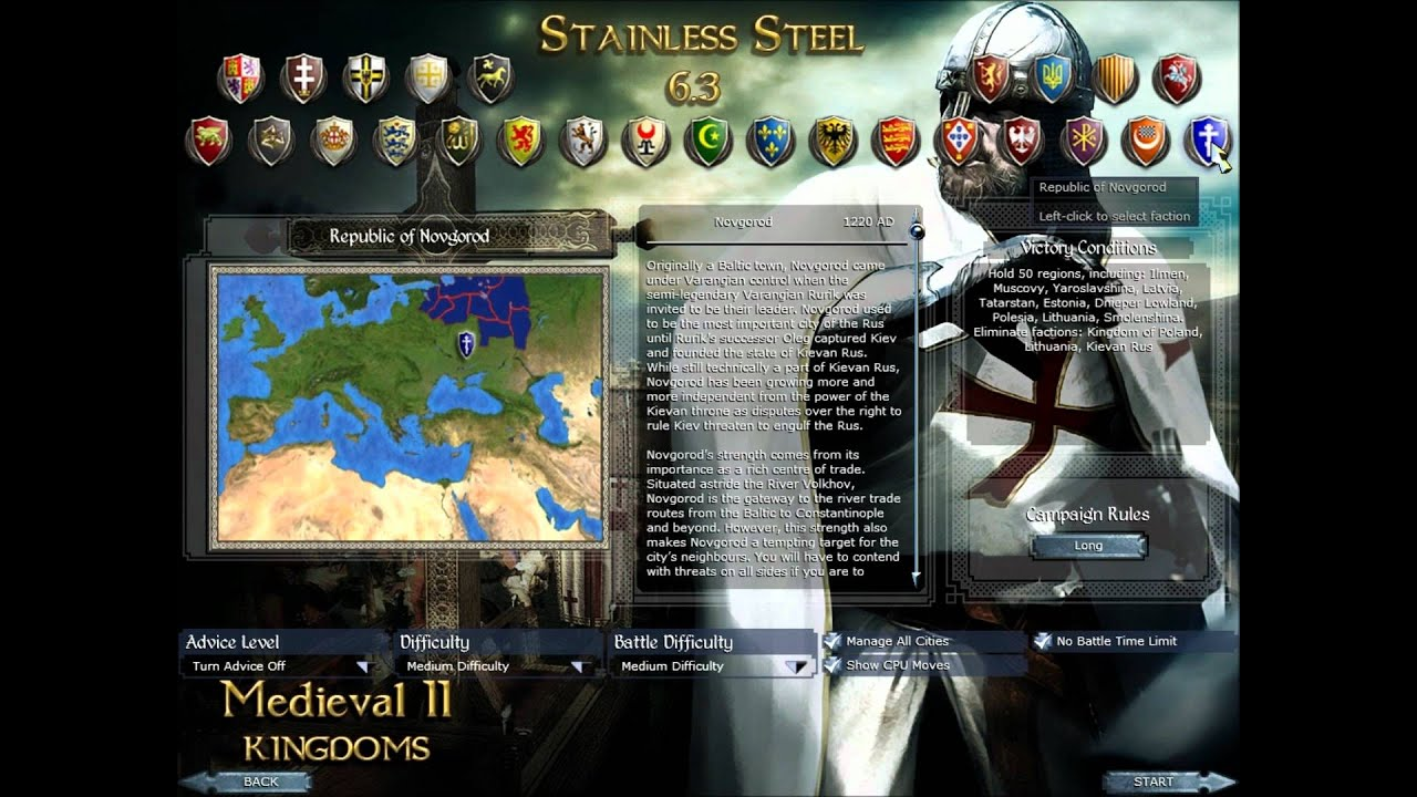 Medieval 2 Total War Stainless Steel Faction Voting