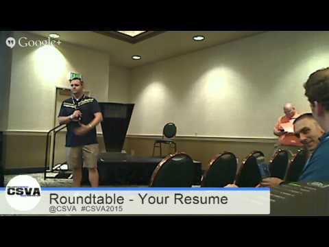 2015 CSVA Conference Round Table - Your Resume 5/11/15