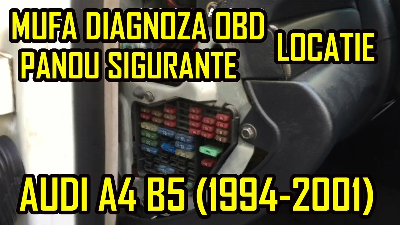 audi a4 b5 cabin fuses and obd2 port location - youtube  youtube