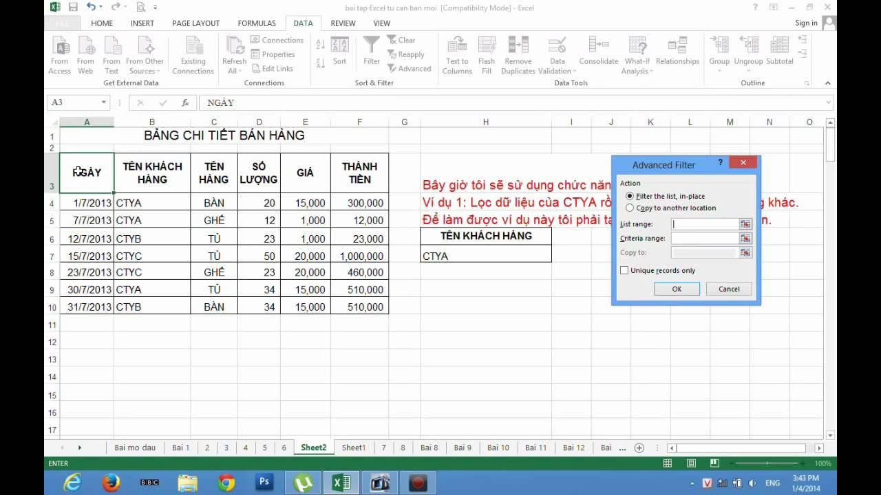 Excel 2013 & Excel 2016 – Hướng Dẫn Lọc (Rút Trích) Dữ Liệu Filter Và Filter Advanced
