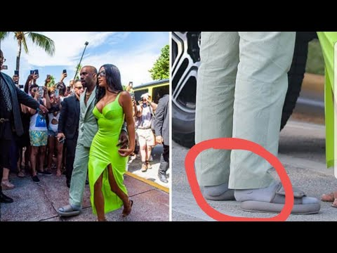 Kanye West Wears TOO SMALL YEEZY SLIDES To 2Chains Wedding