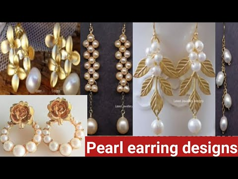 Latest gold Pearl earring design//latest daily wear Pearl earring design