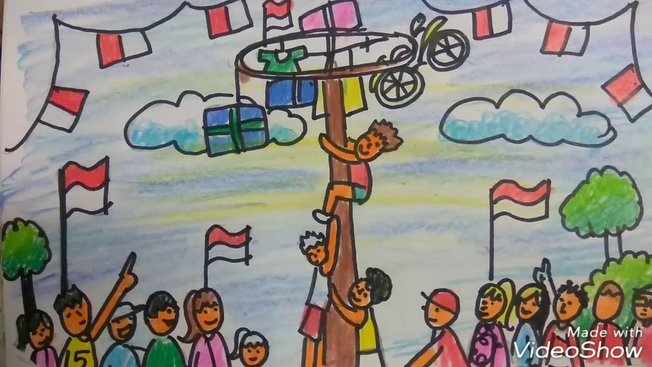 Cara menggambar panjat pinang merayakan kemerdekaan Indonesia