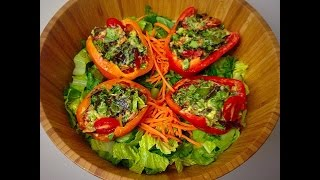 Easy And Fast Raw Vegan Stuffed Peppers Recipe!