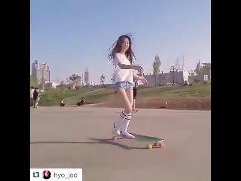 VIRAL Korean ASIAN LONGBOARDING GIRL Hyo Joo. Music by KERO ONE.
