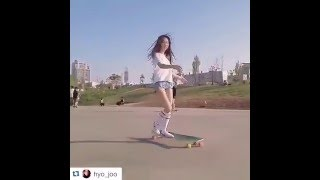Korean Longboarding girl Hyo Joo skating to Kero's
