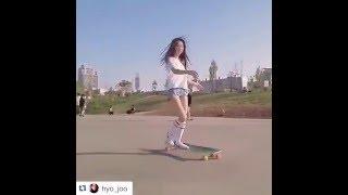 Korean Longboarding girl Hyo Joo skating to Kero