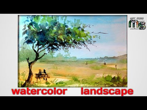 Watercolor Landscape Painting: easy way for beginners/ by Mohit Sharma