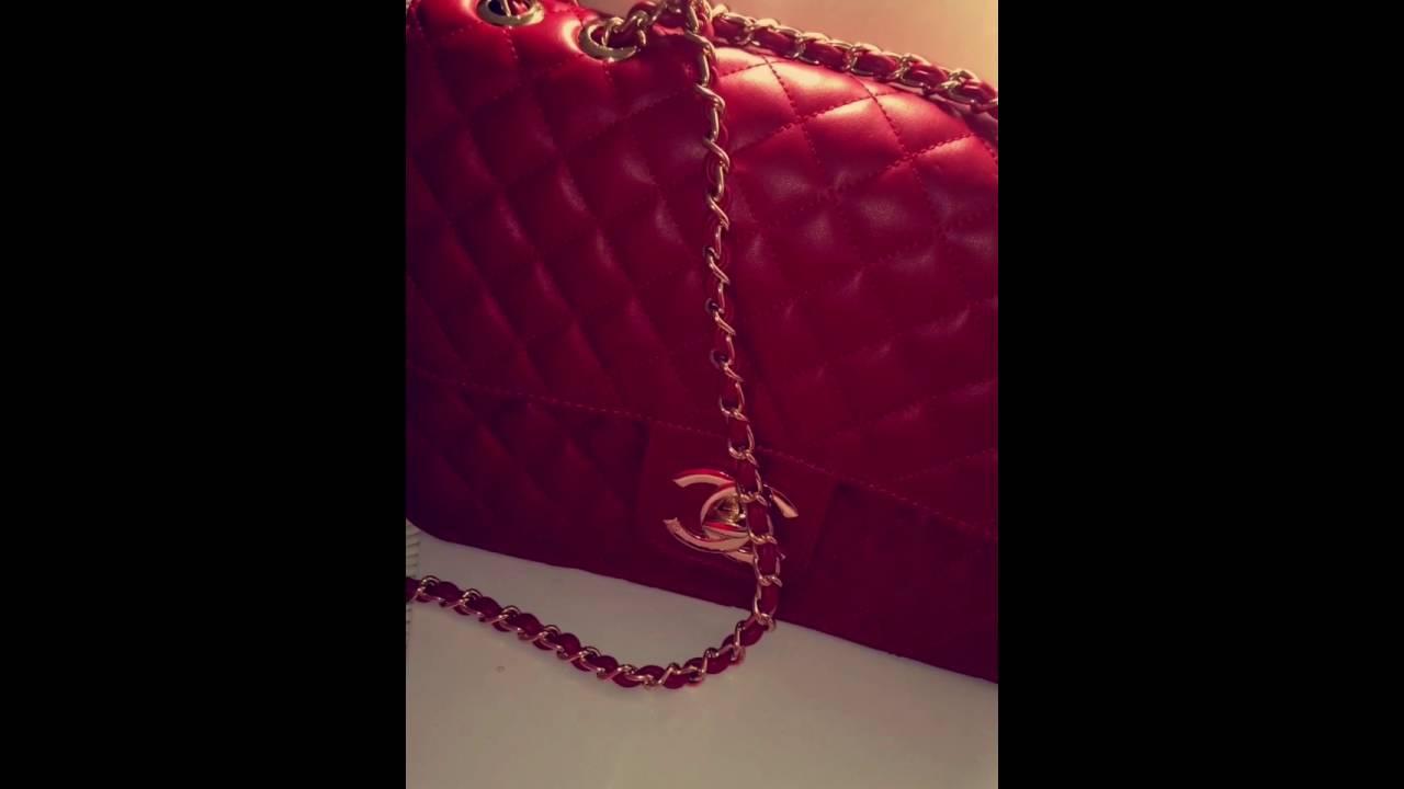 09641630f23c2 chaneel red bag جنط شانيل لون احمر - YouTube