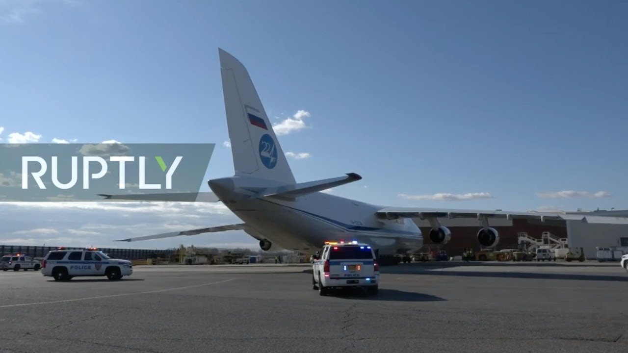 Live from JFK airport as Russian humanitarian aid arrives in NYC